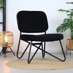 Bronx71 Velvet fauteuil zwart Julia - Zetel 1 persoons - Relaxstoel - Kleine fauteuil - Fluweel - Velours